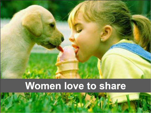Women like sharing